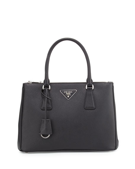Prada Saffiano Lux Double-Zip Tote Bag, Black (Nero)