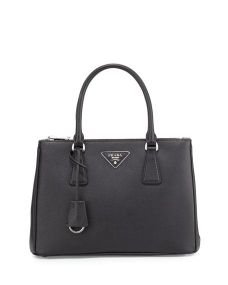 Saffiano Lux Double-Zip Tote Bag, Black (Nero)