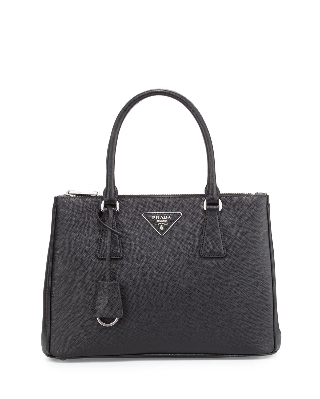31435049f1b6 Prada Saffiano Lux Double-Zip Tote Bag, Black (Nero) | Neiman Marcus