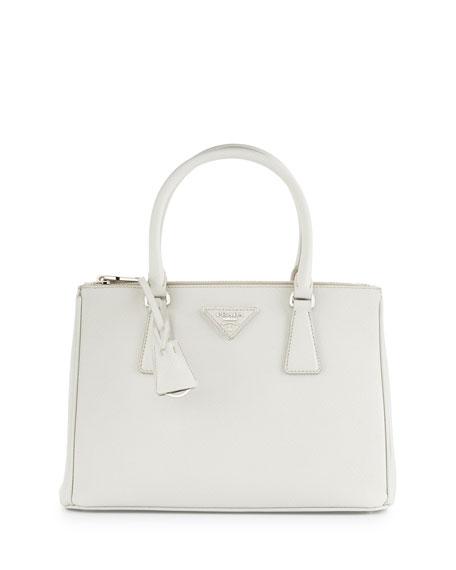 Saffiano Lux Small Double-Zip Tote Bag, White (Talco)