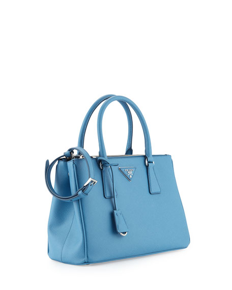 prada black nylon handbags - Prada Saffiano Lux Small Double-Zip Tote Bag, Light Blue (Mare)