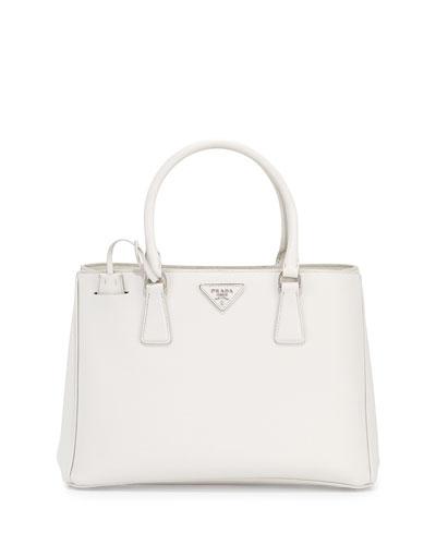 PRADA City Calfskin Bicolor Double-Zip Galleria Tote Bag, White ... - prada frame bag caramel + black + marble gray