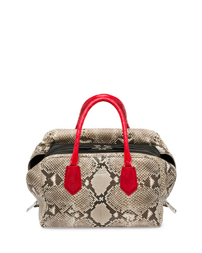 Python Tricolor Inside Bag, Natural/Red (Roccia+Rosso+Nero)