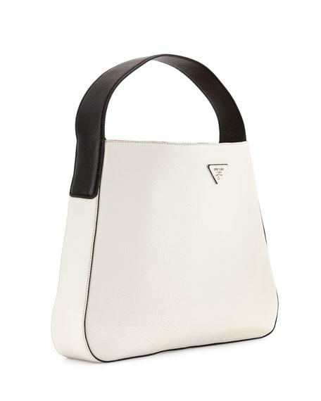 a384a059e048 Prada Vitello Daino Medium Wide-strap Hobo Bag Black (nero ...