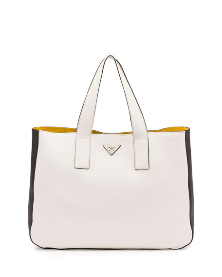 Prada Vitello Daino Medium Open Wide-Strap Tote Bag, White/Black/Yellow ...