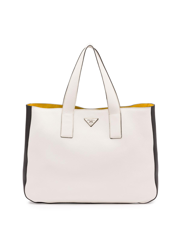 ec6a7a6fc0 Prada Vitello Daino Medium Open Wide-Strap Tote Bag