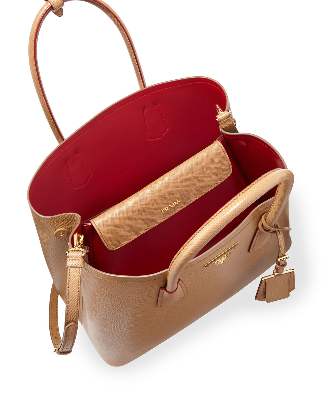 a17aa7ffae517f ... sale prada saffiano cuir double medium tote bag caramel red  caramelfuoco neiman marcus b587e 12f9b