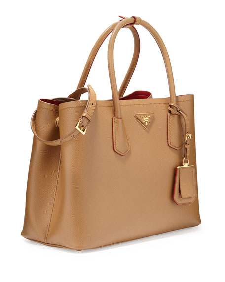 Prada Saffiano Cuir Double Medium Tote Bag, Caramel/Red (Caramel+ ...