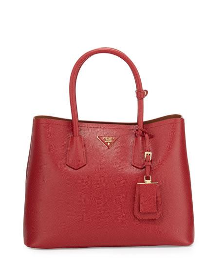 Prada Saffiano Cuir Double Medium Tote Bag, Red/Caramel