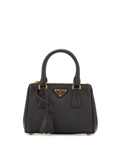 Prada Saffiano Lux Micro Tote Bag w/Shoulder Strap,