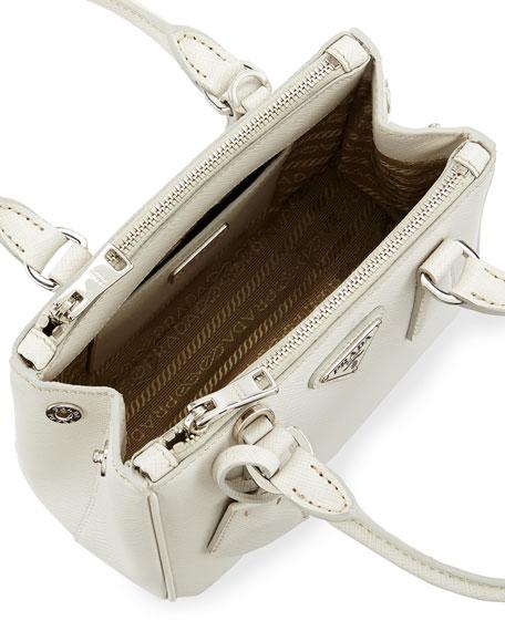 Saffiano Lux Micro Tote Bag w/Shoulder Strap, White (Talco)
