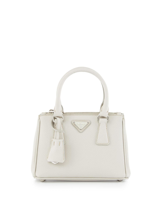 8e7c5be03ef757 Prada Saffiano Lux Micro Tote Bag w/Shoulder Strap, White (Talco ...