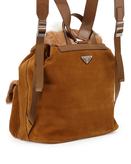 Springbok-Fur Suede Backpack, Brown/White (Talco)
