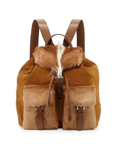 Prada Springbok-Fur Suede Backpack, Brown/White (Talco)