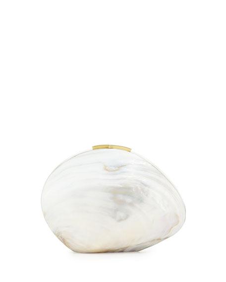 Rafe Sirene Shell Minaudiere, White