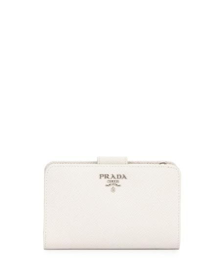 PradaSaffiano Metal Oro Bi-Fold Wallet, White (Talco)