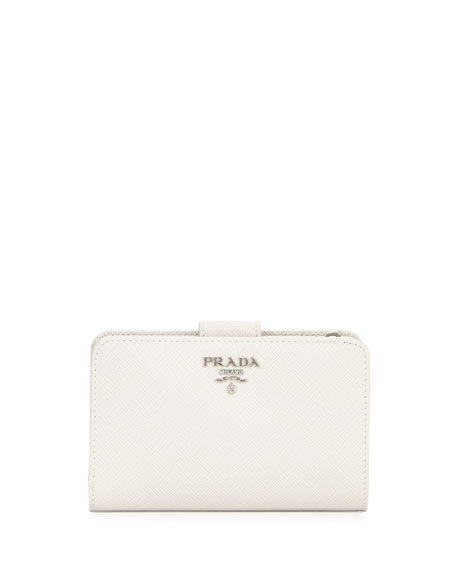 Prada Saffiano Metal Oro Bi-Fold Wallet, White (Talco)
