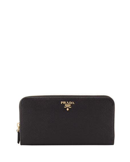 Saffiano Metal Oro Zip-Around Wallet, Black (Nero)