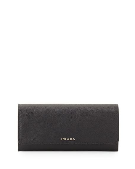 pink prada handbag leather - Prada Textured Leather Continental Wallet, Black (Nero)
