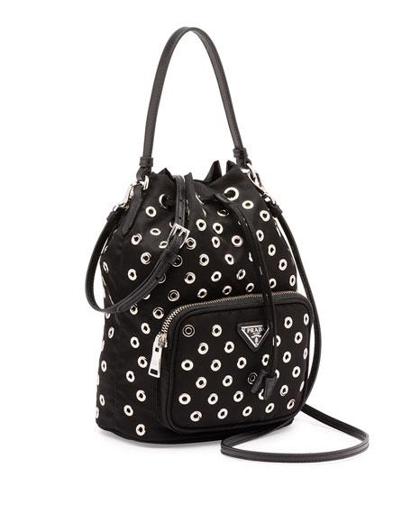 prada black fringe handbag - Prada Tessuto Vela Grommet Small Bucket Crossbody Bag, Black (Nero)