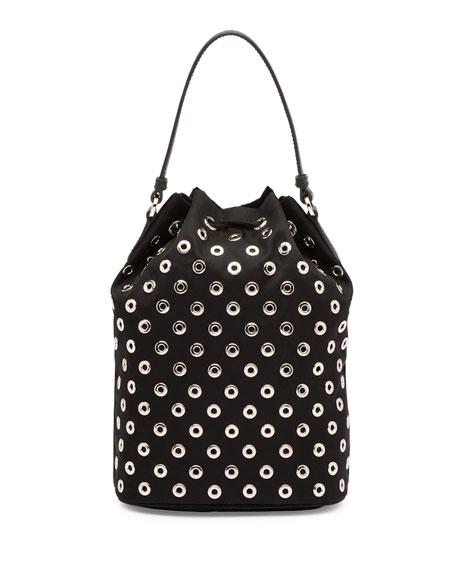 Prada Tessuto Vela Grommet Small Bucket Crossbody Bag, Black (Nero)