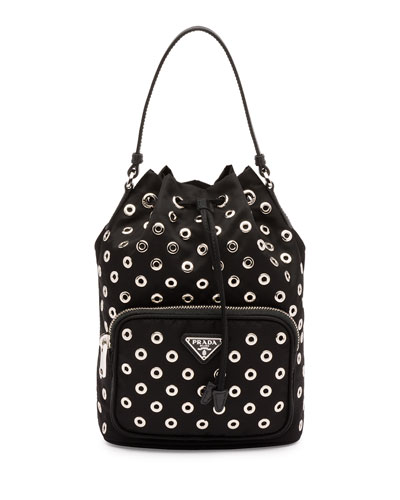 Tessuto Vela Grommet Small Bucket Crossbody Bag, Black (Nero)