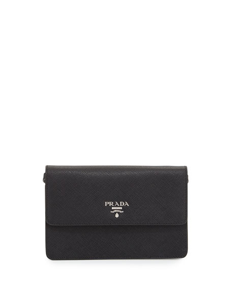Prada Saffiano Small Wallet-on-a-Strap, Black (Nero)