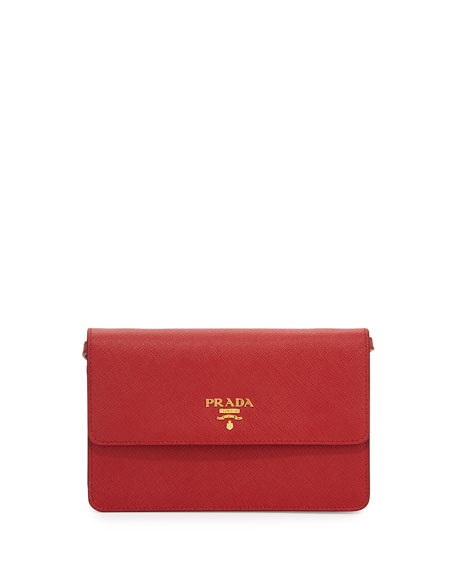 Prada Saffiano Small Wallet-on-a-Strap, Red (Fuoco)