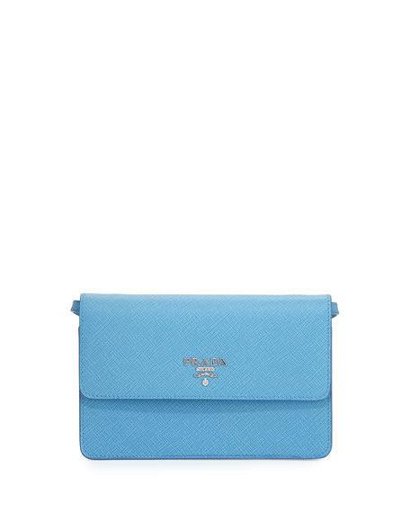 Prada Saffiano Small Wallet-on-a-Strap, Light Blue (Mare)
