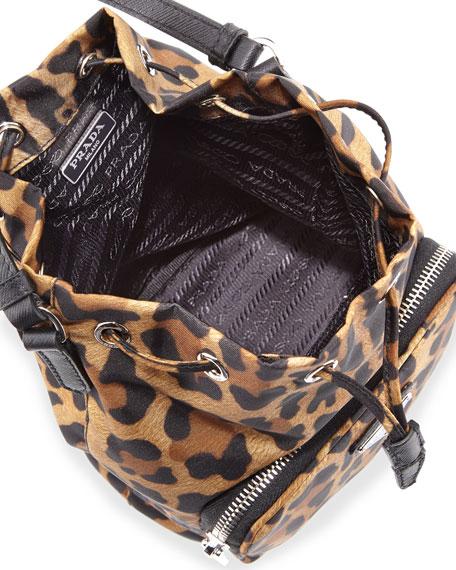 Prada Tessuto Mini Leopard-Print Bucket Bag, Tan (Leopardo)
