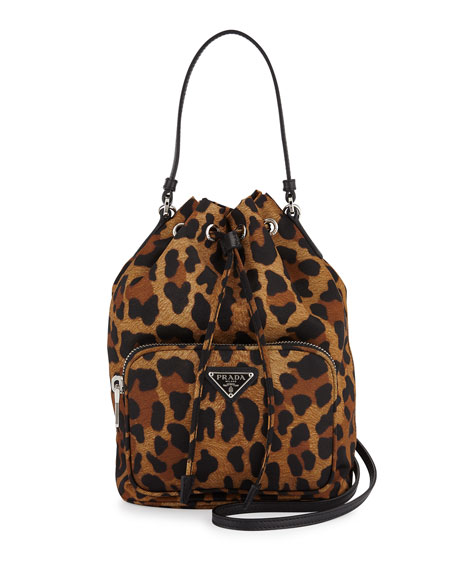 Prada Tessuto Mini Leopard-Print Bucket Bag, Tan (Leopardo)