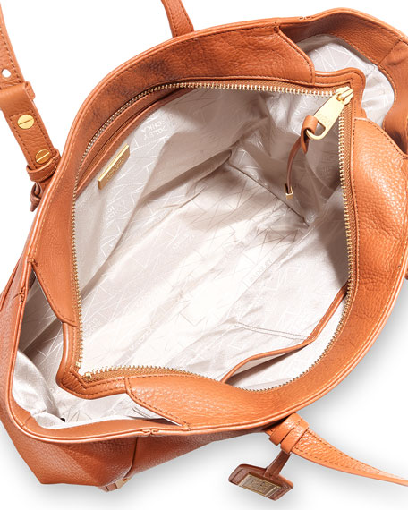 Badgley Mischka Linda Soft Pebble Leather Tote Bag, Cognac