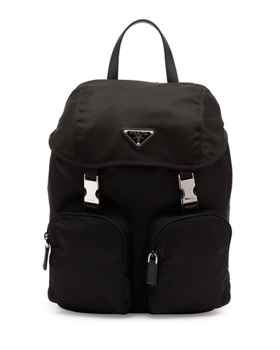 Vela Large Zip-Front Backpack, Black (Nero)