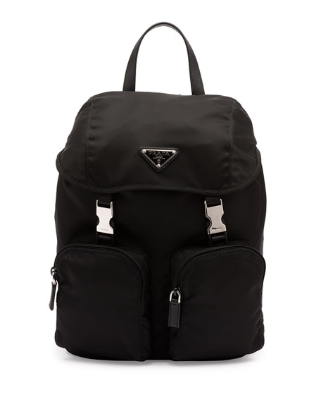 Prada Vela Large Zip-Front Backpack, Black (Nero)