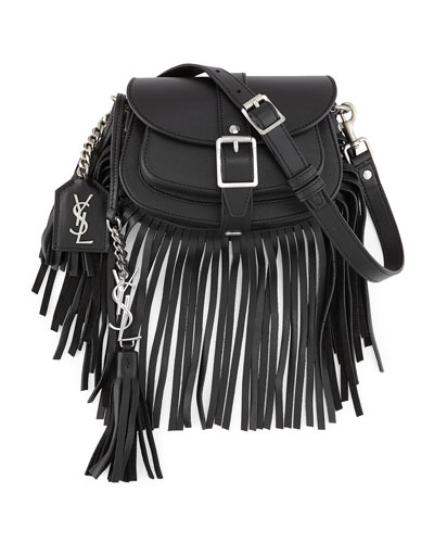 Mini Curved Fringe Saddle Bag, Black