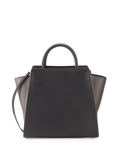 Eartha North-South Leather Satchel Bag, Black