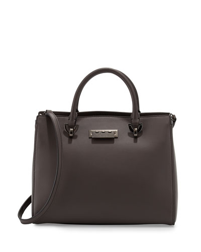 Eartha Leather Barrel Satchel Bag, Shadow