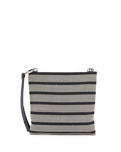 Striped Monili Leather Crossbody Bag, Black/Silver