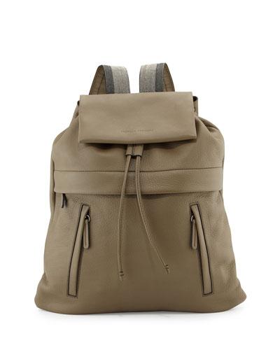 Calfskin Backpack w/Monili Straps, Dark Green