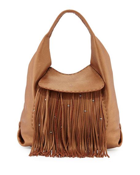 Henry Beguelin Canotta Leather Fringe Hobo Bag, Cognac