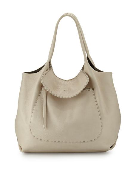 Henry Beguelin Canotta Hippie Leather Shoulder Bag, Cream