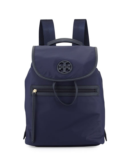 Tory Burch Slouchy Nylon Backpack, Tory Navy