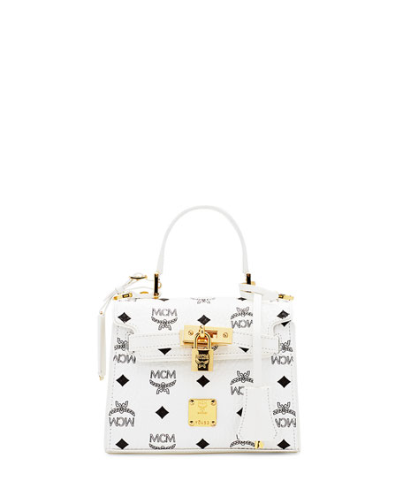 MCM Heritage Mini Satchel Bag, White