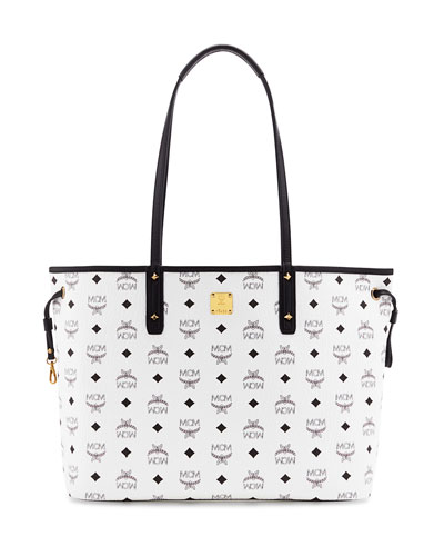 MCM Shopper Project Visetos Reversible Tote Bag, White