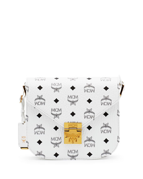 MCM Patricia Visetos Small Shoulder Bag, White