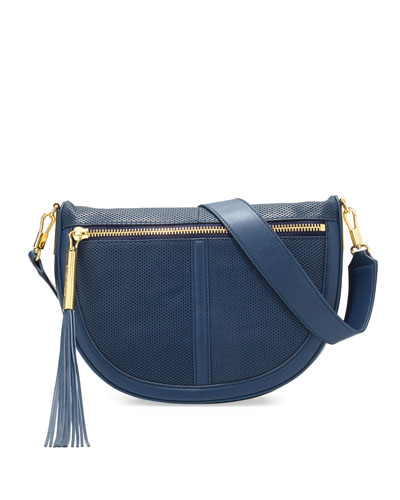 Scott Mini Moon Perforated Saddle Bag, Yachting Navy