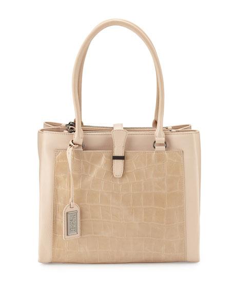 Badgley Mischka Adelle Crocodile-Embossed Leather Shoulder Bag, Latte