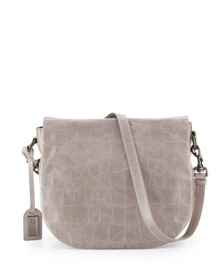 Badgley Mischka Bette Crocodile-Embossed Leather Crossbody Bag, Dove Gray