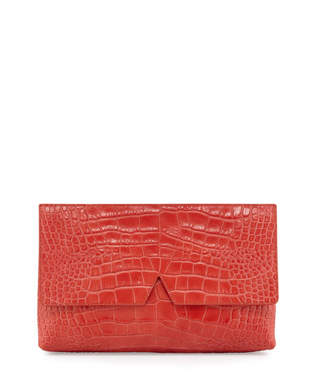 Vince Signature V Crocodile-Embossed Clutch Bag, Sienna