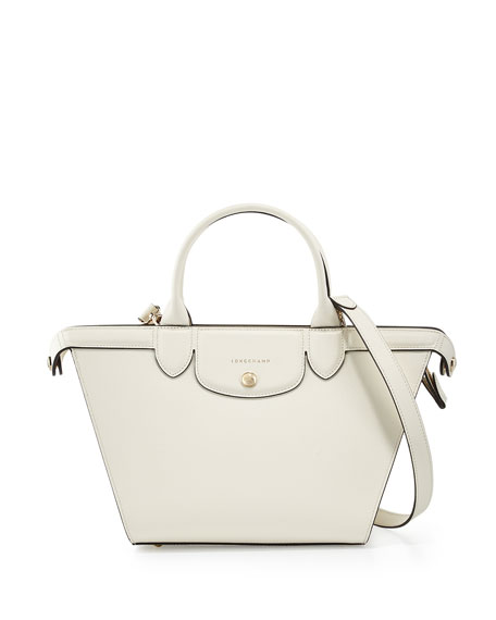 Le Pliage Heritage Medium Handbag with Strap, Ecru